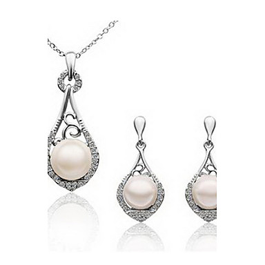 Charming Alloy Platinum Plated With White Imitation Pearl Jewelry Set(Including Necklace,Earrings)