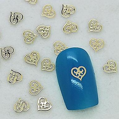 200pcs design unic inimă gol de metal de aur decorare felie unghii