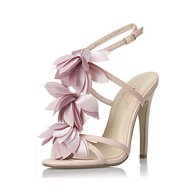 sandalias de la correa del tobillo del talón de los zapatos de las mujeres del partido zapatos de tacón de aguja de color rosa flor / noche