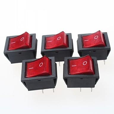 4-Pin-Wippschalter mit roter Leuchtanzeige 15a 250VAC (5-Stück-Packung)