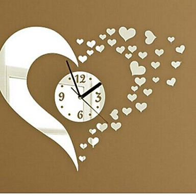 Wall clock stickers wall decals fashion 3d heart mirror for 3d acrylic mirror wall sticker clock decoration decor