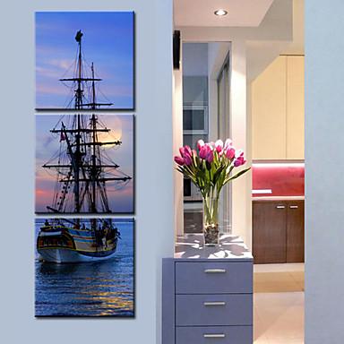 Întins Canvas Art Peisaj cu navele aflate Set mare de 3