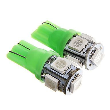 t10 1w 100lm 5 × 5050 SMD зеленый свет для приборной панели автомобиля / двери / магистральных ламп (dc12v 2шт)