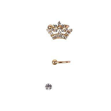 Damen Kronenform Strass Diamantimitate Ohr-Stulpen - Luxus Kronenform Ohrringe Für Hochzeit Party Alltag