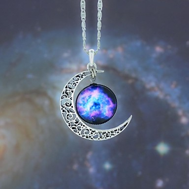 levne Dámské šperky-Dámské Opál Náhrdelníky s přívěšky dlouhý náhrdelník Ryté MOON Galaxie Crescent Moon Levný Magie dámy Evropský Módní Hippie Syntetické drahé kameny Slitina Modrá Červenobílá Duhová Náhrdelníky Šperky