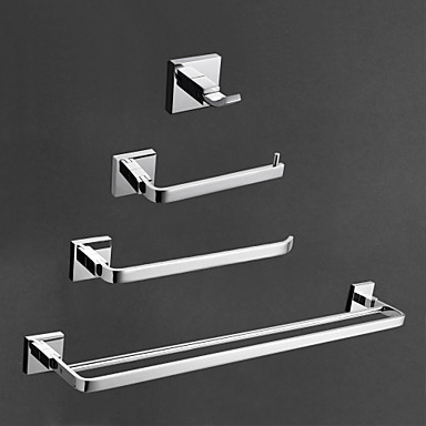 Bathroom Accessory Set High Quality Contemporary Brass 4pcs - Hotel bath tower bar Robe Hook Toilet Paper Holders Wall Mounted