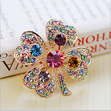 cheap Brooches-Women's Brooches Crystal Cubic Zirconia Cheap Ladies Party Fashion Color fancy Brooch Jewelry Rainbow For Wedding Party Special Occasion Anniversary Birthday Gift