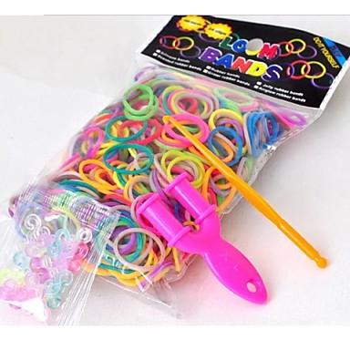 600pcs diy regenboog kleur weefgetouw stijl rubber / siliconen band armbanden 300pcs bands, 24 kleurrijke s-clips, 1 weefgetouwen, 1hook