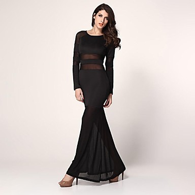 067cf0a2926 elonbo dámské dlouhý rukáv sexy krajky proužek styl těsné šaty ...