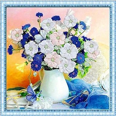 DIY draperii de perete decor perete, pastoral floral 3d pictură stitchwork panza decor arta de perete