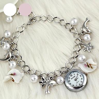 Женские Модные часы Наручные часы Часы-браслет Кварцевый сплав Группа Элегантные часы Белый Розовый