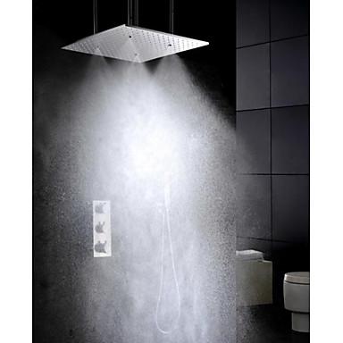 Moderne Regendusche Handdusche inklusive Thermostatische Messingventil Drei Griffe Fünf Löcher Chrom , Duscharmaturen