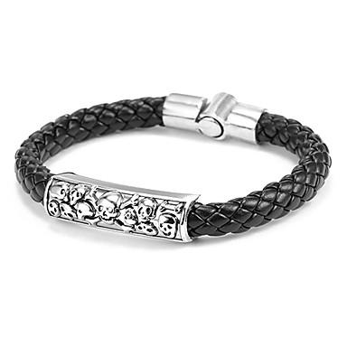 Leder Schedel Lederen armbanden - Zwart Bruin Armbanden Voor Dagelijks Causaal