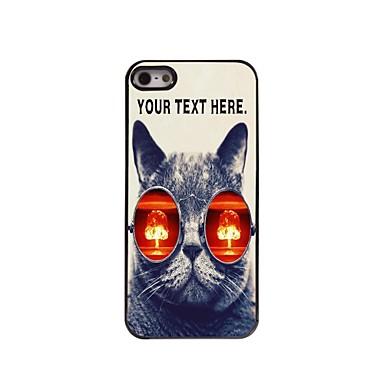 gepersonaliseerd geval kat met glazen ontwerp metalen behuizing voor de iPhone 5 / 5s
