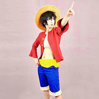 Inspirat de One Piece Monkey D. Luffy Anime Costume Cosplay Costume Cosplay Peteci Vârf / Centură / Pantaloni scurți Pentru Bărbați / Pentru femei Costume de Halloween