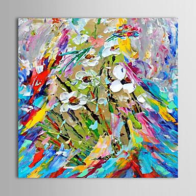 Hang-Ölgemälde Handgemalte - Blumenmuster / Botanisch Zeitgenössisch Segeltuch / Gestreckte Leinwand