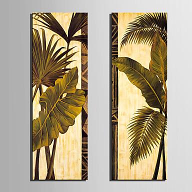 Trasferimenti su tela Arte contemporanea Foglie Verdi Set di 2
