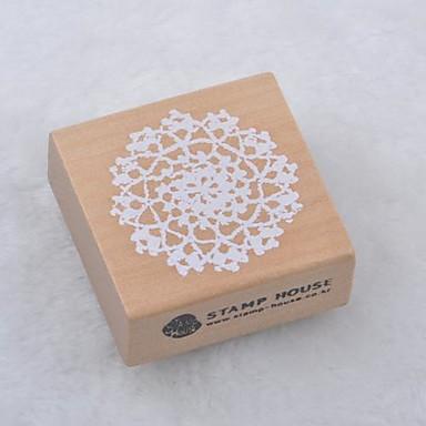 5cm x 5cm romantic model floare floral timbre patrati din lemn