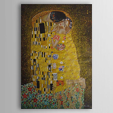 cheap Wall Art-Hand-painted Oil Painting The Kiss by Gustav Klimt With Stretched Frame