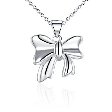 Damen Schleifenform Gestalten Halsketten Anhängerketten Anhänger Sterling Silber Zirkon Silber Halsketten Anhängerketten Anhänger