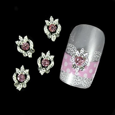 10pcs roz de argint stras aliaj DIY decorare unghii