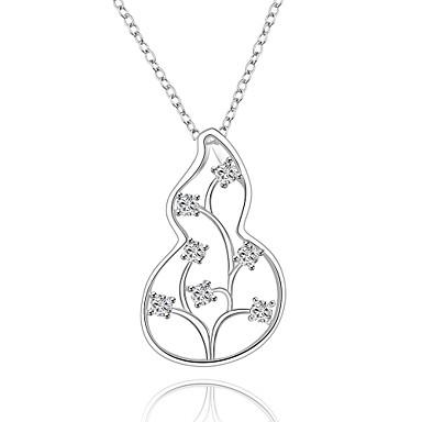 Damen Gestalten Halsketten Anhängerketten Anhänger Synthetische Edelsteine Sterling Silber Zirkon Kubikzirkonia Silber Halsketten