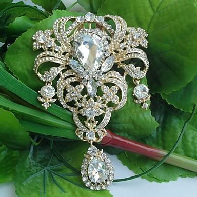Women's Classic Alloy Gold-tone Clear Rhinestone Crystal Flower Bridal Brooch Pin