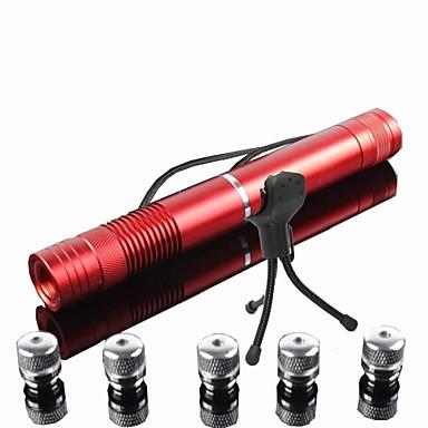 E-g008 concentreze hârtie de ardere reglabil tăiere albastru laser pointer cu cinci transforma capete (2mW, 473nm, 2x16340)