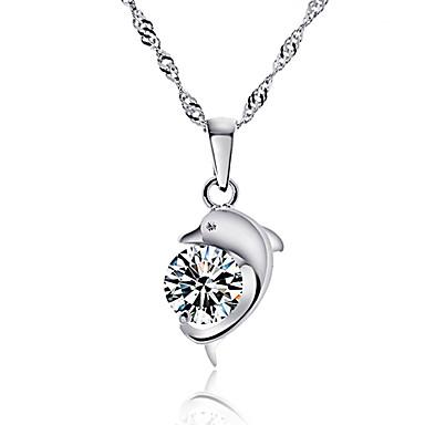 Kadın Uçlu Kolyeler Cross Shape Animal Shape Yunus Som Gümüş Simüle Elmas lüks mücevher Mücevher Uyumluluk