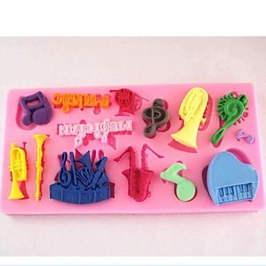 orkestrale notities fondant cake chocolade siliconen mal taart decoratie gereedschappen, L11.5cm * w5.7cm * h0.9cm