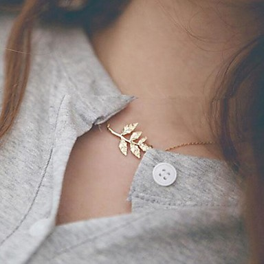 Pentru femei Coliere Choker - Leaf Shape stil minimalist, Modă Auriu Coliere Pentru Zilnic
