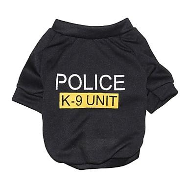 Katze Hund T-shirt Hundekleidung Buchstabe & Nummer Polizei / Militär Schwarz Baumwolle Kostüm Für Haustiere Herrn Damen Modisch