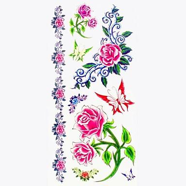 Serie de Flori Acțibilde de Tatuaj - Multicolor - Model - #(18.5*8.5) - Dame/Girl/Adult/Adolescent - Hârtie - Dame/Girl/Adult/Adolescent -