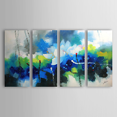 Ručně malované Abstraktní / Abstraktní krajinka Čtyři panely Plátno Hang-malované olejomalba For Home dekorace