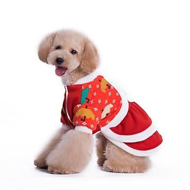Собаки Платья Красный Одежда для собак Зима Косплей / Рождество