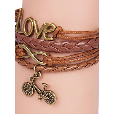 Leather Bracelets Multilayer Alloy Love and Bicycle Charms Handmade Bracelet