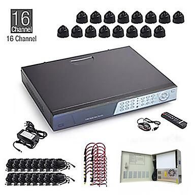 16ch cctv kit + 16pcs 15m zwart dome camera + 1TB hdd gratis