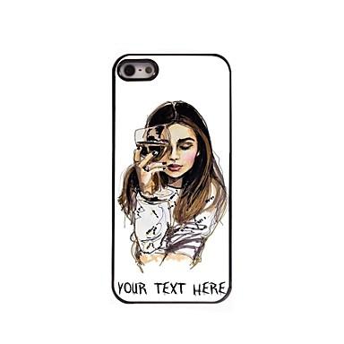 cazul în care telefonul personalizate - fata cu carcasa de metal de proiectare pahar de vin pentru iPhone 5 / 5s