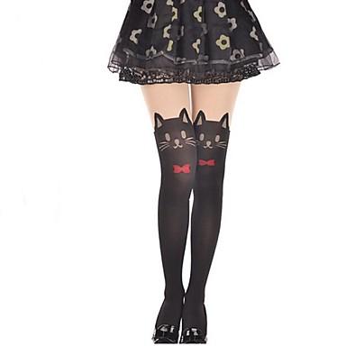 Prinzessin Strümpfe / Strumpfhosen Oberschenkellange Socken Niedlich Lolita Damen Solide Katze Schleife Strümpfe Samt Halloween Kostüme / Hochelastisch