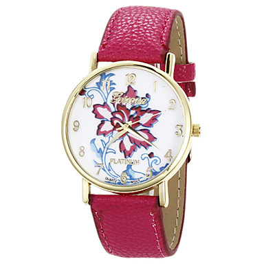 Tomono bloempatroon pu lederen vrouwen jurk horloge (fuchsia)
