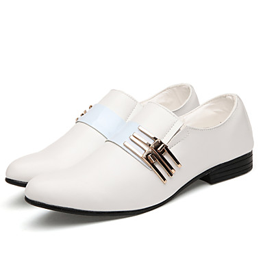 Men's Shoes Faux Leather Spring / Fall Comfort Oxfords White / Black / Brown / Wedding / Dress Shoes