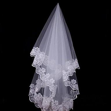 Einschichtig Spitzen-Saum Hochzeitsschleier Fingerspitzenlange Schleier Kopfbedeckung mit Schleier Mit 59,06 in (150cm) Spitze Tüll