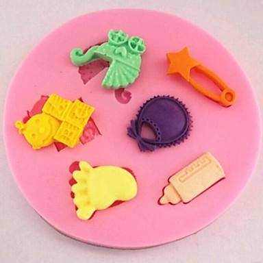 kinderwagen voeten fles fondant taart siliconen mal taart decoratie gereedschappen, l8cm * w8cm * h1cm