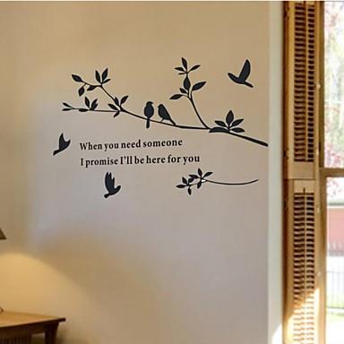 Dyr Former Botanisk Ord & Citater Vintage Veggklistremerker Fly vægklistermærker Dekorative Mur Klistermærker, PVC Hjem Dekor