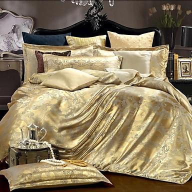Bettbezug-Sets Luxus Seide/Baumwolle Jacquard Seide/Baumwolle 4-teilig (1 Bettbezug, 1 Bettlaken, 2 Kissenbezüge)