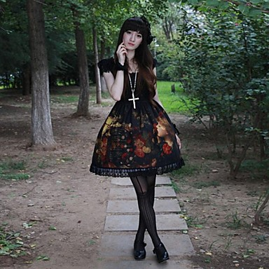 Gothic Punk Kant / Polyesteri Dames Jurken Cosplay Korte mouw Gemiddelde Lengte