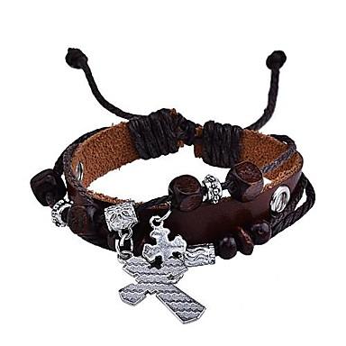 Heren Bedelarmbanden Lederen armbanden Sierstenen Leder Legering Kruis Sieraden Feest Dagelijks Causaal Sport
