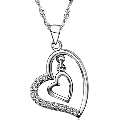 Women's Heart Shape Cubic Zirconia Silver Wedding Party Special Occasion Anniversary Birthday Engagement Gift Causal Daily Office &