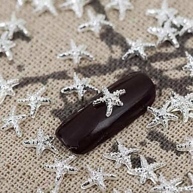 50pcs gümüş metalik parlayan yıldızı tırnak sanat alaşım takı tırnak uçları manikür süslemeleri Vernik