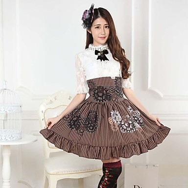 Rok Schattig Steampunk® Prinses Cosplay Lolita Jurken Koffiebruin Print  Lolita Gemiddelde Lengte Rok Voor Dames Polyester